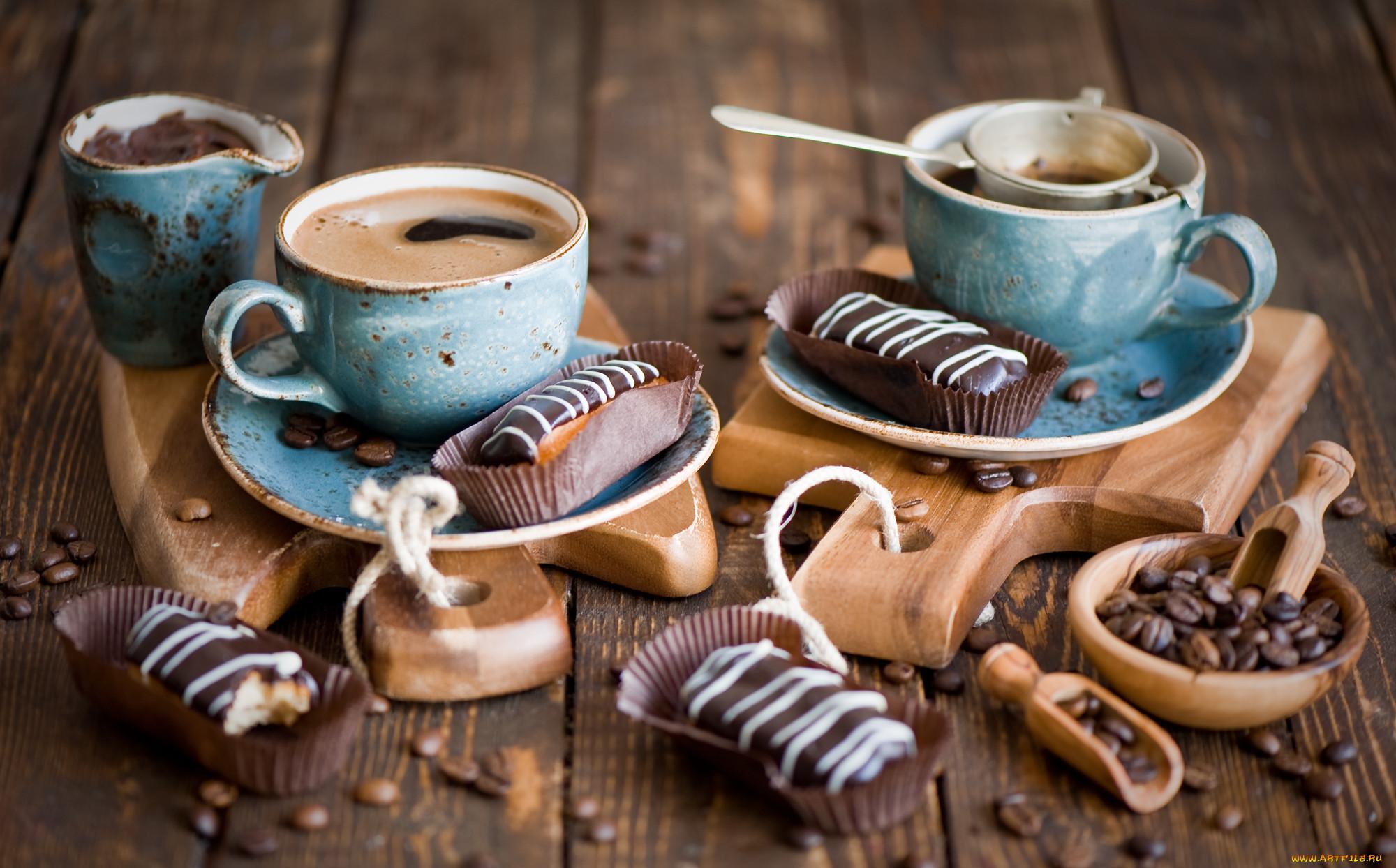 еда, кофе,  кофейные зёрна, эклеры, кофейные, зёрна, натюрморт